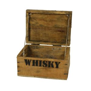 Whisky Holzkiste, mini (21x27x14,5cm), Vintage, Weinkiste, Obstkiste mit Deckel und Aufdruck
