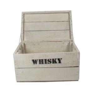 Whisky Holzkiste, klein (28x42x23cm), Vintage, Weinkiste, Obstkiste mit Deckel und Aufdruck, weiß lasiert