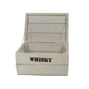 Whisky Holzkiste, junior (24x34,5x19cm), Vintage, Weinkiste, Obstkiste mit Deckel und Aufdruck, weiß lasiert
