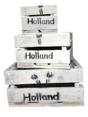 Holland Holzkiste mit Tulpenmotiv, 3-er Set, klein, Obstkiste, Vintage Design, weiß lasiert