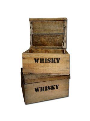 Whisky Holzkiste, mini (21x27x14,5cm), 2er Set, Vintage, Weinkiste, Obstkiste mit Deckel und Aufdruck