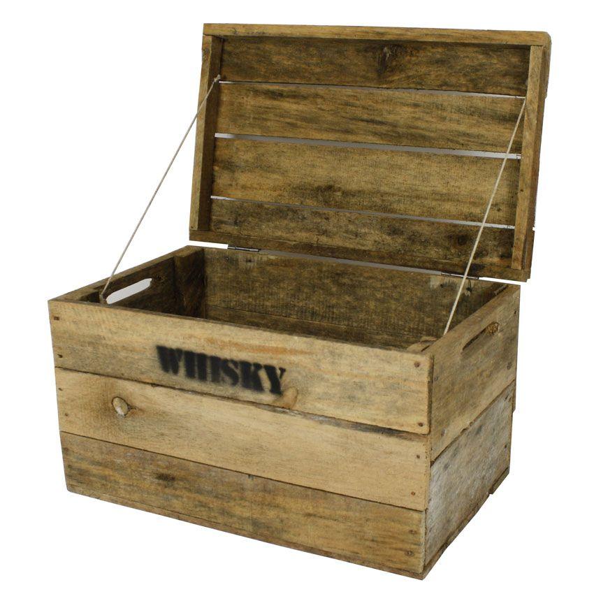 Whisky Holzkiste Mittel 31x50x30cm Vintage Weinkiste Obstkiste Mit Deckel Und Aufdruck
